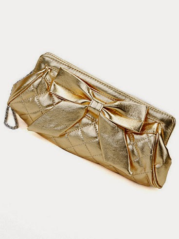 evening clutch in gold satin