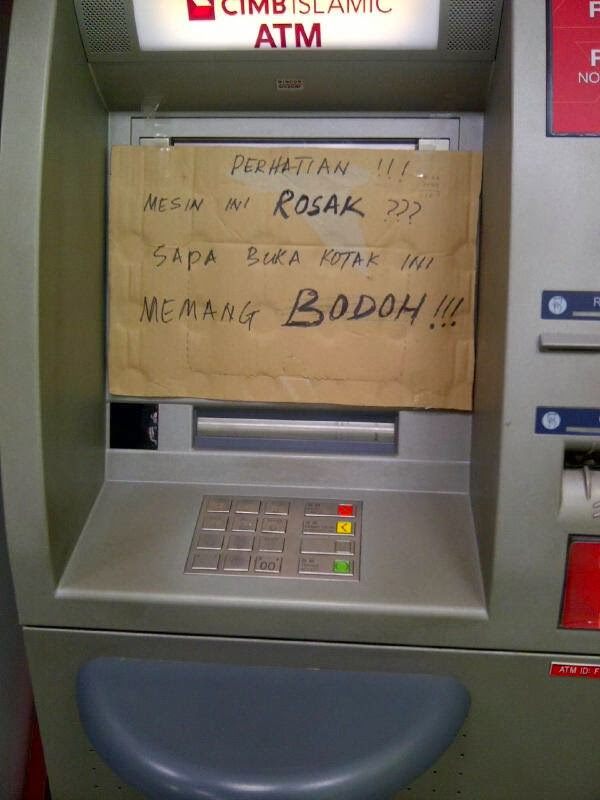 Sign board paling garang di mesin atm