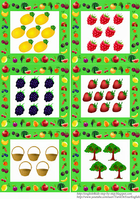 fruit flashcards in plural for esl