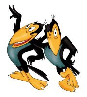 two cartoon magpies with attitude