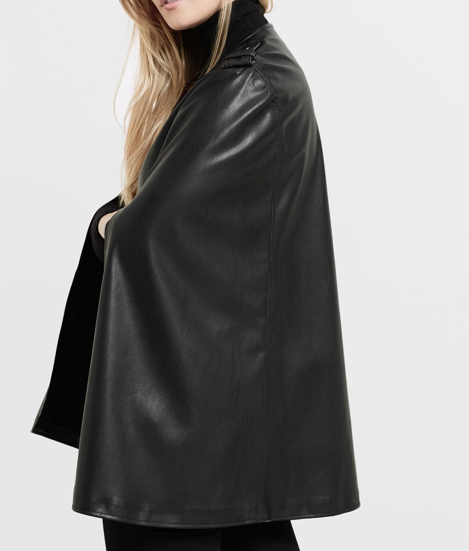 faux leather plus size cape