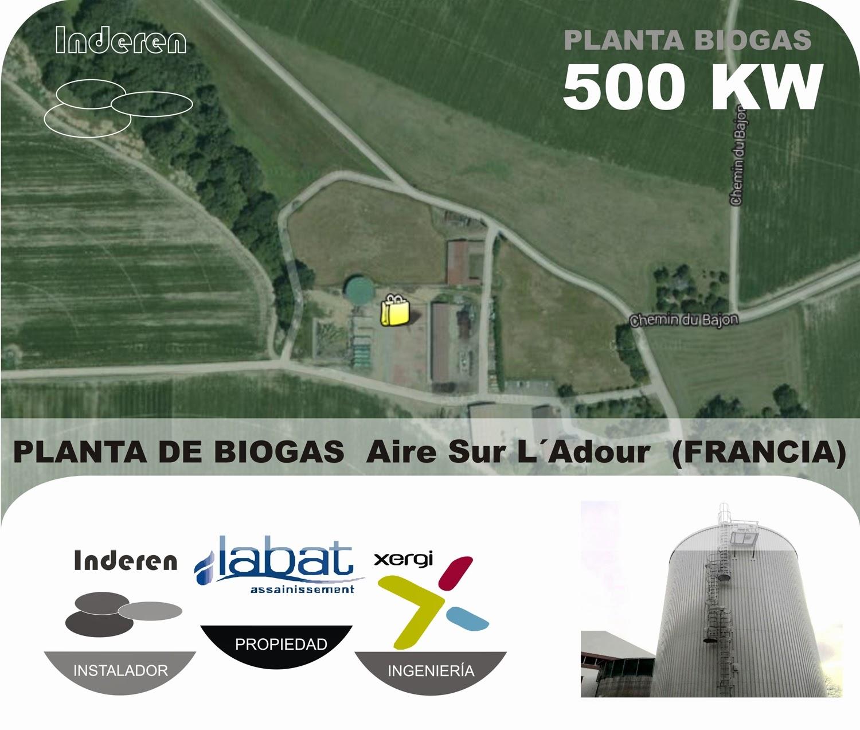 Sarl Aire sur L´adour planta de biogas labat francia 500 KW INDEREN biodigestores ENERGIAS RENOVABLES VALENCIA