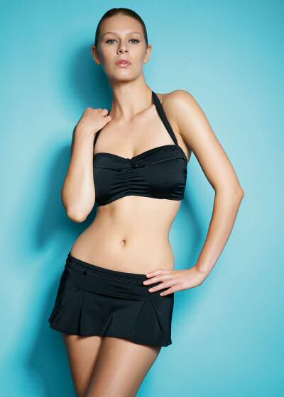Freya swimwear Fever collection 2012: a black tankini bikini top and skirted brief