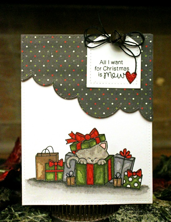 Christmas Cat Card by Larissa Heskett | Newton's Christmas Cuddles Stamp & Die set by Newton's Nook Designs #newtonsnook