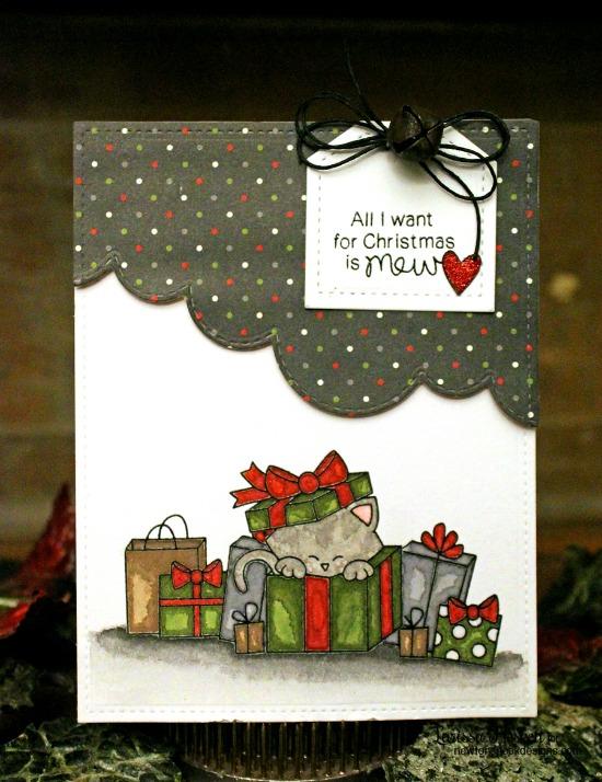 Christmas Cat Card by Larissa Heskett | Newton's Christmas Cuddles Stamp & Die set by Newton's Nook Designs #newtonsnook