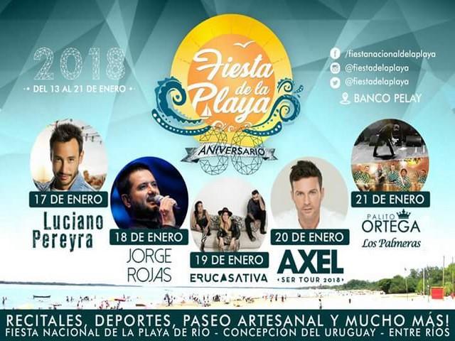13 al 21 de enero Fiesta Nacional de la Playa en Concepción del Uruguay