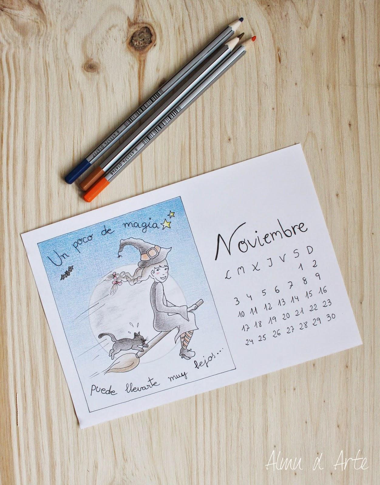 Calendario de noviembre 2014 pintado a mano para descargar
