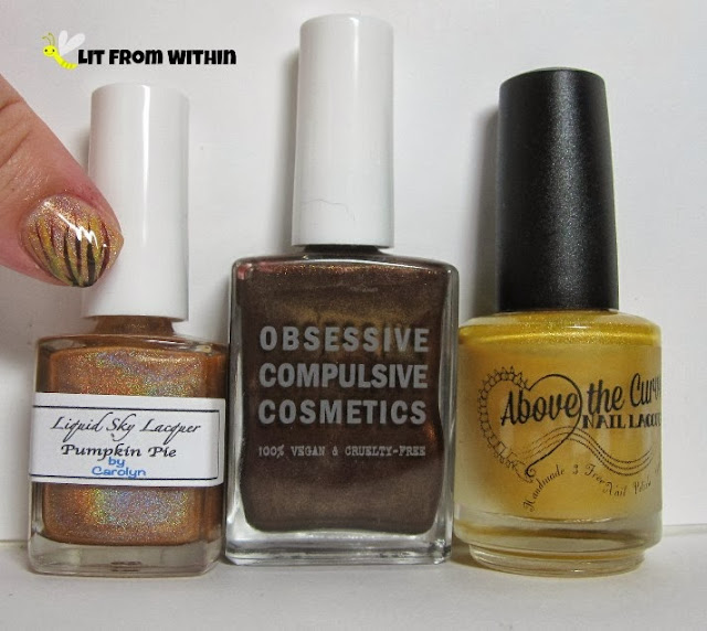 Bottle shot:  Liquid Sky Lacquer Pumpkin Pie, Obsessive Compulsive Cosmetics ISherwood, and Above the Curve Let's Tan-GO