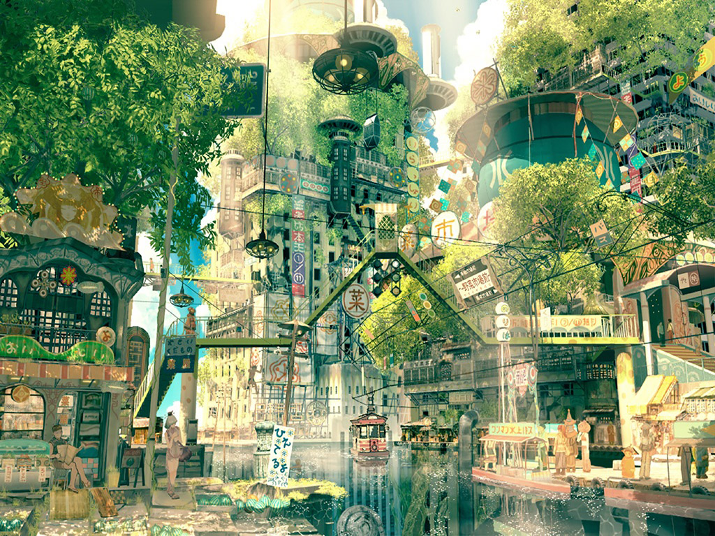 Japanese Forest city art - Fantasy wallpaper
