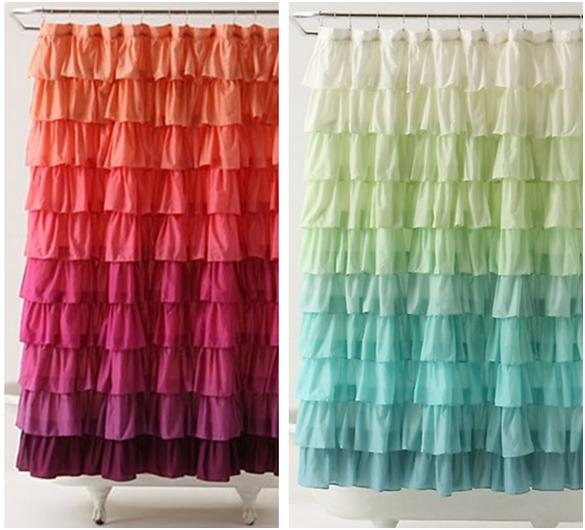 the little green bean: DIY Ruffle Shower Curtain