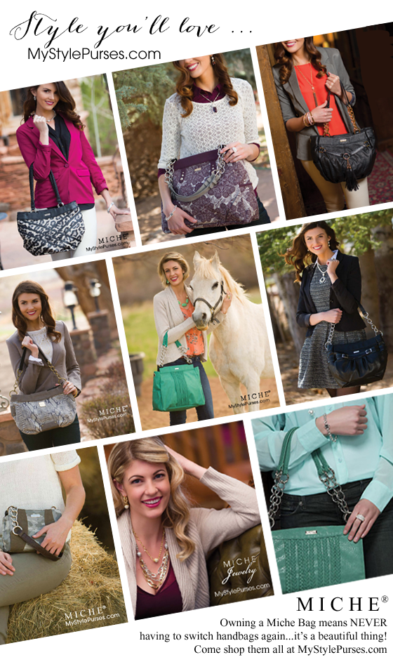 Owning a Miche Bag means NEVER having to switch handbags!  Come shop, host an on-line party or join our team and start your own business.