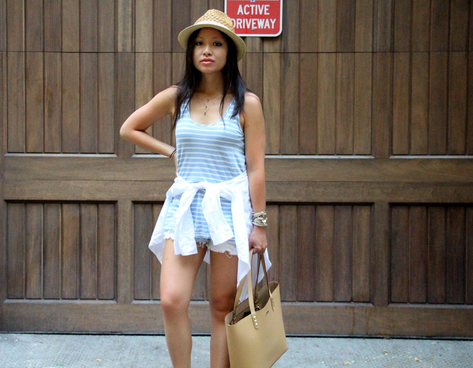 Current Elliott blue white striped tank Siwy Denim white shorts Rebecca minkoff tote Charlotte Stone suede sandals