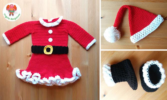 Disfraz de Mama Noel tejido en crochet para bebe