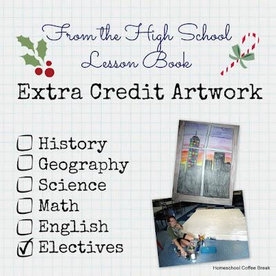 From the High School Lesson Book - Extra Credit Artwork on Homeschool Coffee Break @ kympossibleblog.blogspot.com #Christmas #homeschool #highschool #art