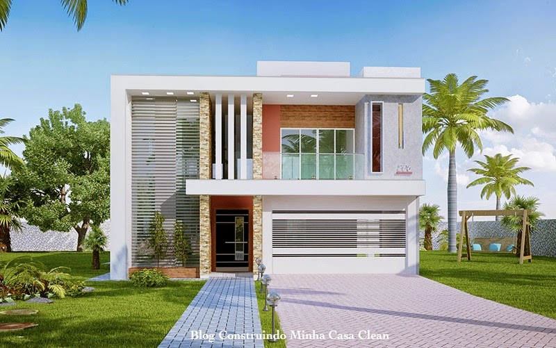 Construindo minha casa clean fachadas de casas modernas for Modelos jardines para casas pequenas