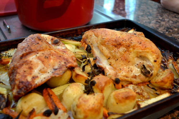Roasted chicken breasts with vegetables. Lucy Mercer/A Cook and Her ...