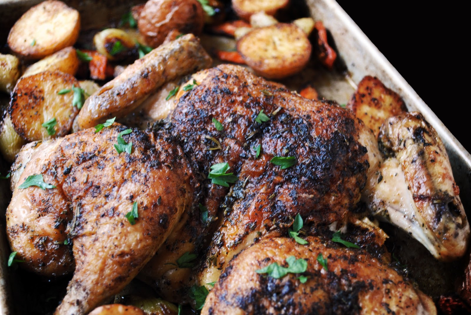 Herbed Butterflied Chicken with Roasted Vegetables and Pan Gravy {# ...