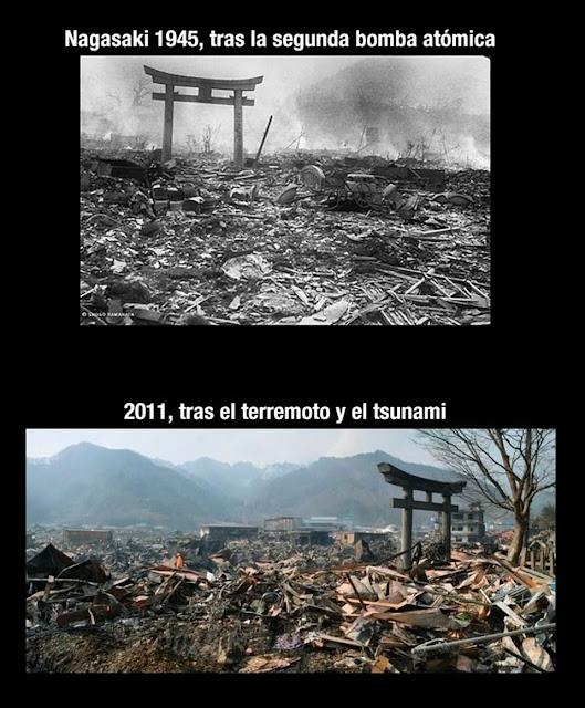 Antes e depois do tsunami no Japão