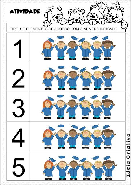 Atividade Formatura Educação Infantil Número e Quantidade