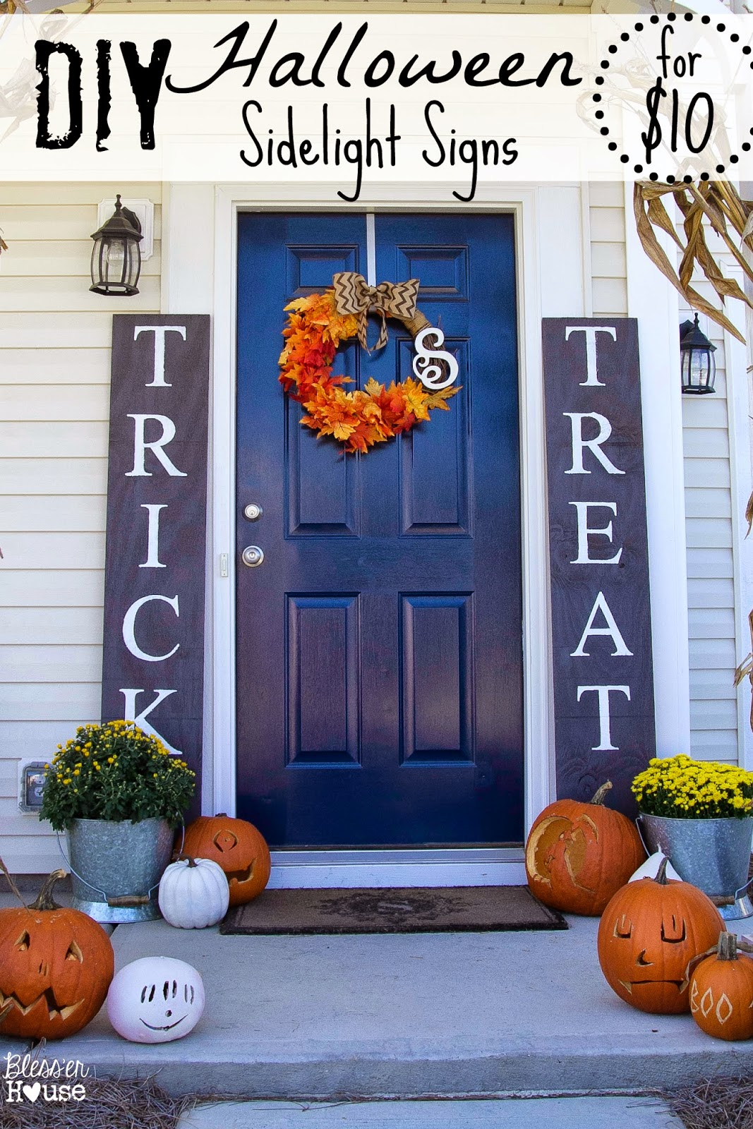 Bless'er House | DIY Halloween Sidelight Signs {and Fall Porch Reveal}
