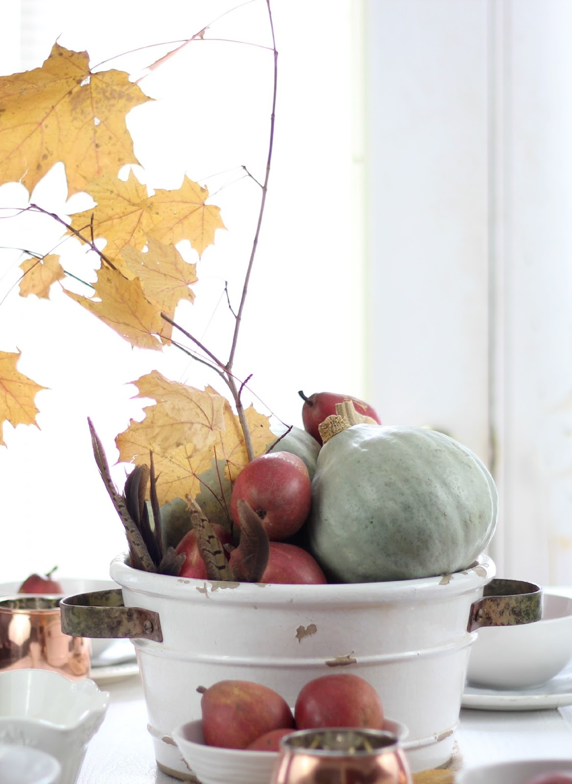 Simple Thanksgiving Tablescape Ideas on Birch Lane Mule Copper Mugs