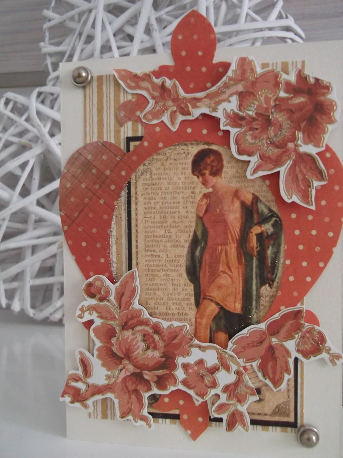 onnittelukortti, jossa aamutakkinen nainen, ruusuja