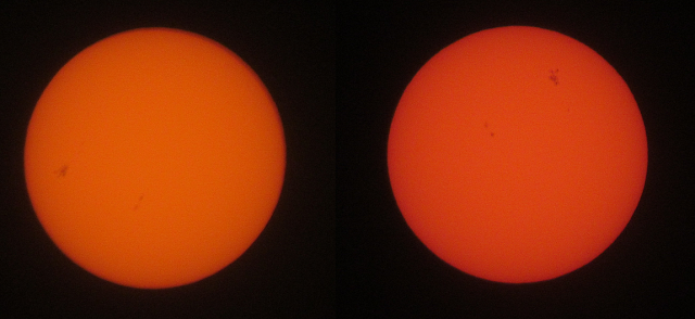 Sunspot AR1429 6-Mar-2013 morning and evening