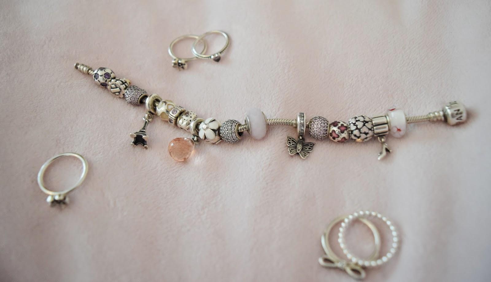 Pandora bracelet, pandora rings, sterling silver, jewelry