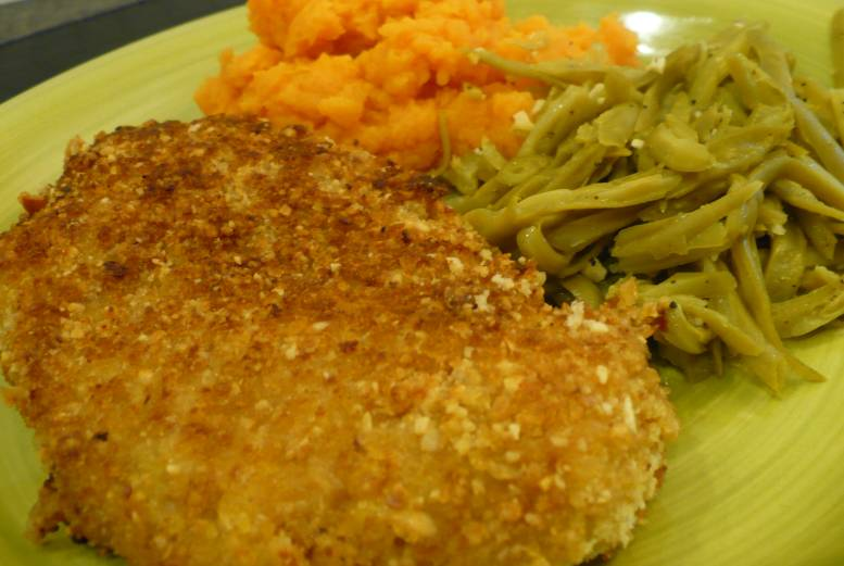 breasts Macadamia nut crusted chicken