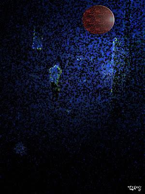 Ilustración digital de la artista gráfica puñués, noche oscura y soledad