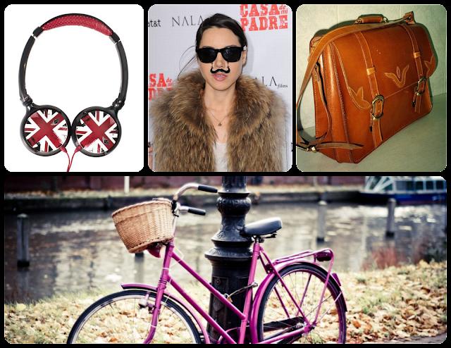 dComplementos de la chica hipster - Auriculares, gafas/bigote, bolso cartero y bicicleta