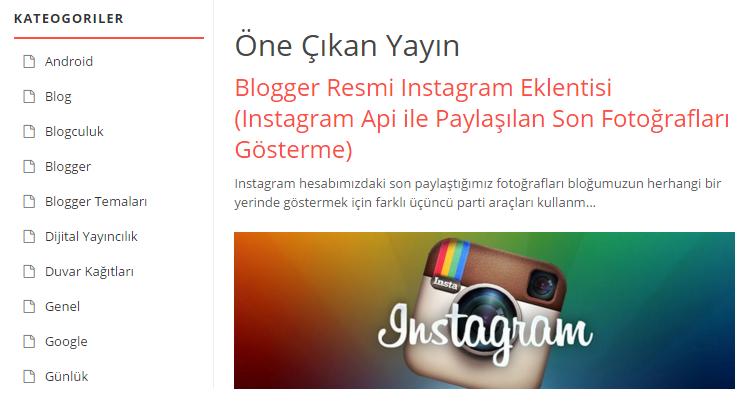 Blogger öne çıkarılmış yazı eklentisi