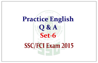 Practice English Questions and Answer for SSC CHSL/FCI Exam