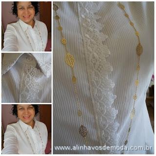 """""""Detalhes-da-camisa-branca-customizada-com-renda"""" www.alinhavosdemoda.com.br"""