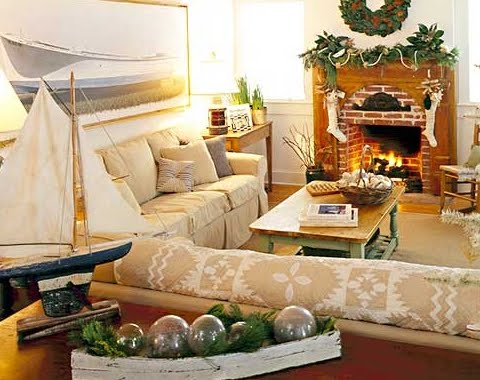 nautical Christmas living room with greenery