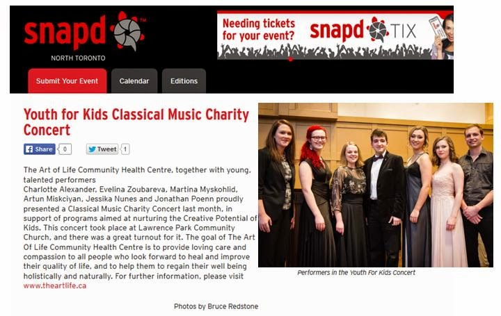 Youth for Kids Classical Music Charity Concert, The Art of Life; SNAP North Toronto