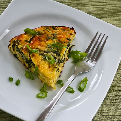 Artichoke, Kale, and Ricotta Pie with Eggs and Parmesan found on KalynsKitchen.com