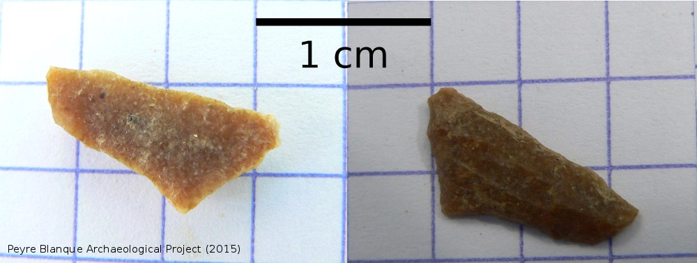 Magdalenian stone tool (triangle) - Peyre Blanque Archaeological Project (2015 )