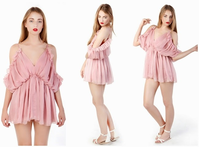 Choies 2014 SS Limited Edition Nude Pink Camis Pleated Romper Playsuit