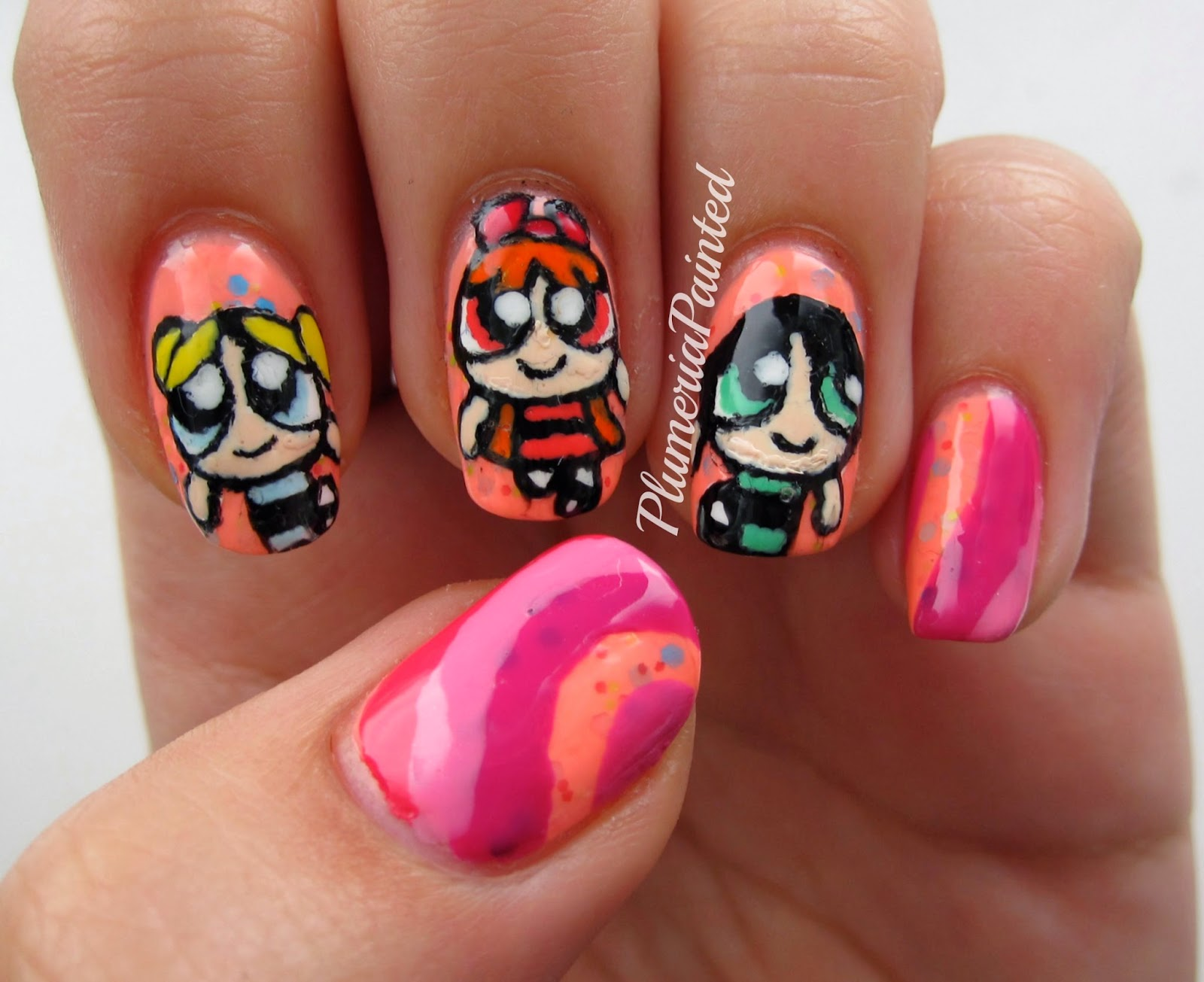 Plumeriapainted powerpuff girls nail art so i started with a white base for all of them and did my black outline then i got my toothpicks and filled in proportion is always my nail art enemy so prinsesfo Images