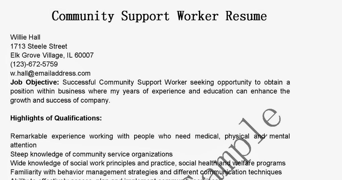 Community service worker resume