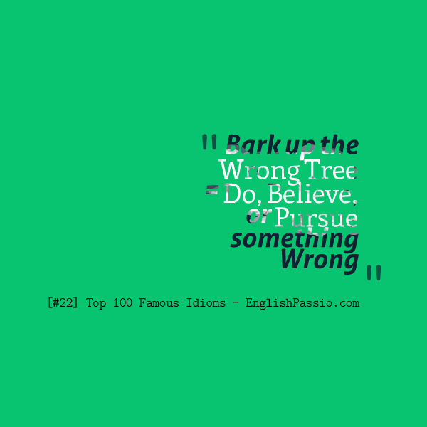 Idiom #22: Bark Up the Wrong Tree [Top 100 Famous Idioms] | English