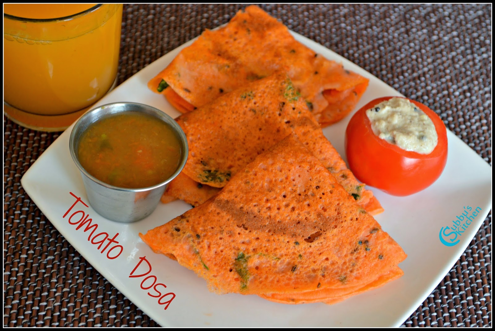 Tomato Dosa Recipe | Thakkali Dosai Recipe | Subbus Kitchen