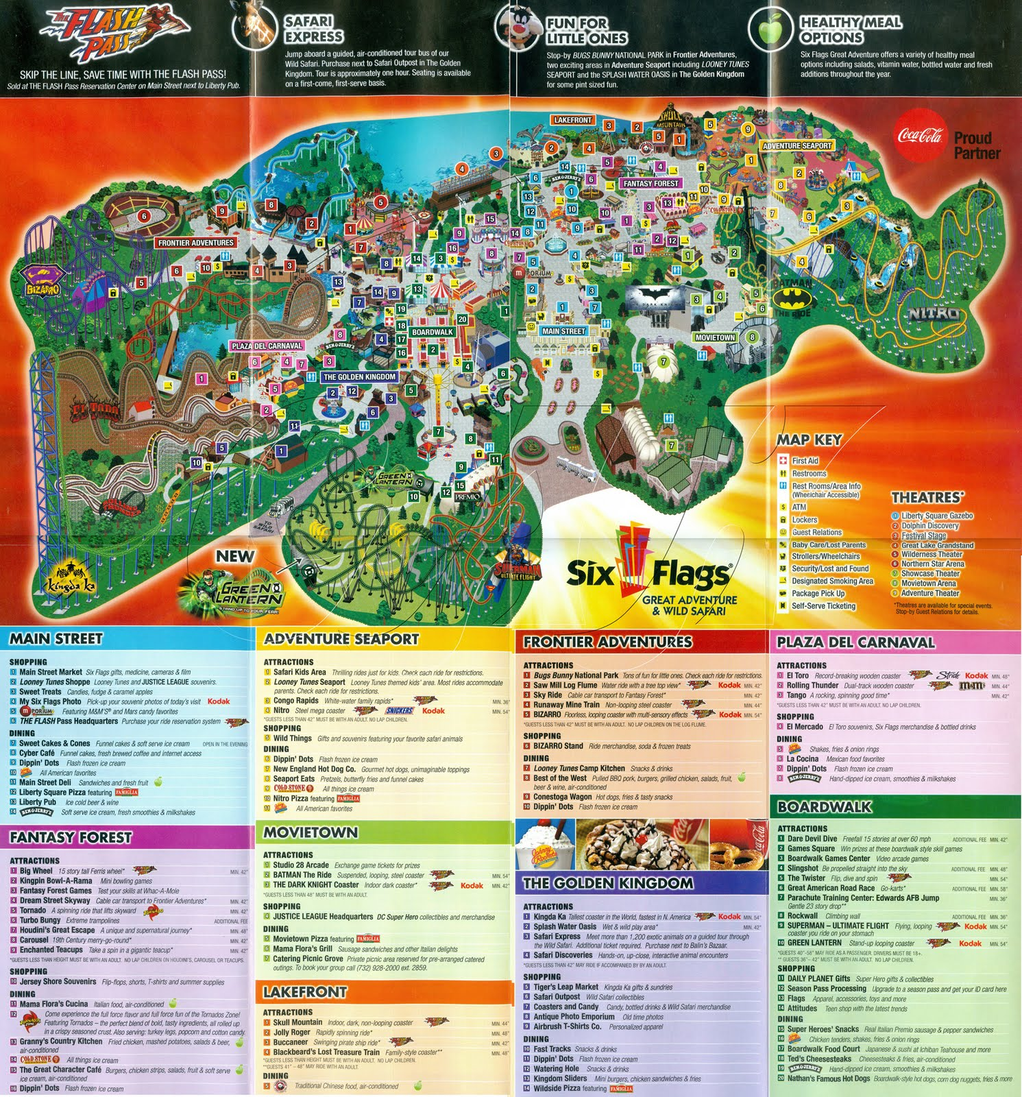 The New Six Flags Great Adventure Map Has Been Revealed And There Are Many Changes The Most Obvious Change Is Green Lantern Is On There