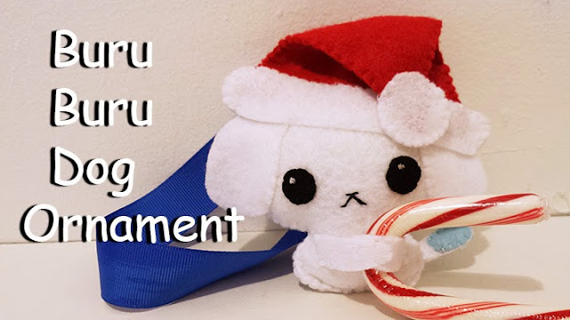 How to Make a Buru Buru Dog Holiday Ornament plushie tutorial