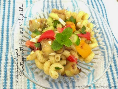 Cavatappi Pasta Roasted Vegetables fresh herbs feta