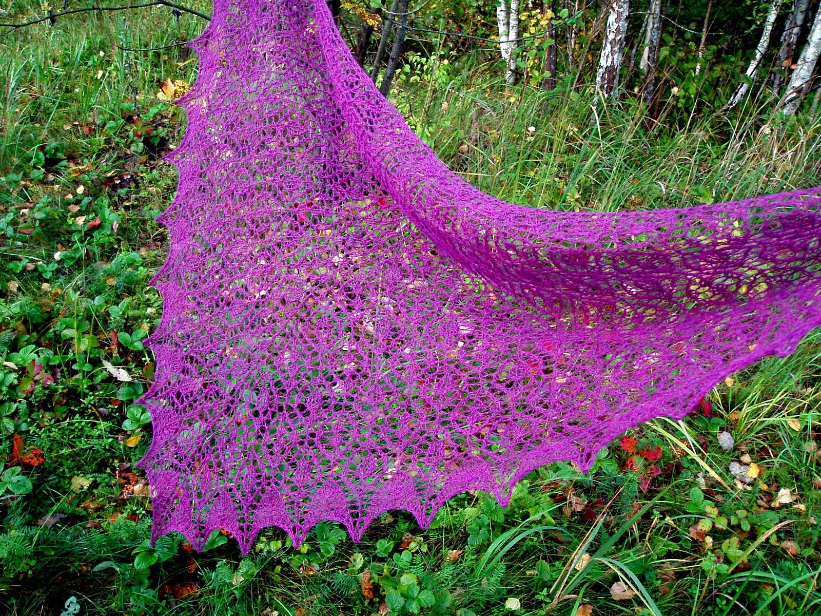 Ажурные шали спицами схемы