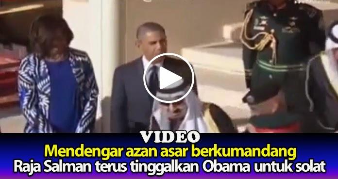Dengar azan berkumandang, Raja Salman terus tinggalkan Obama