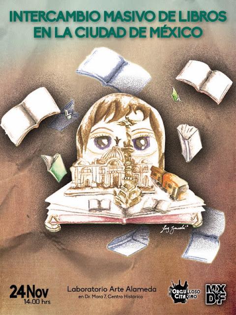 Ilustración del intercambio de libros a realizarse el 24 de Noviembre