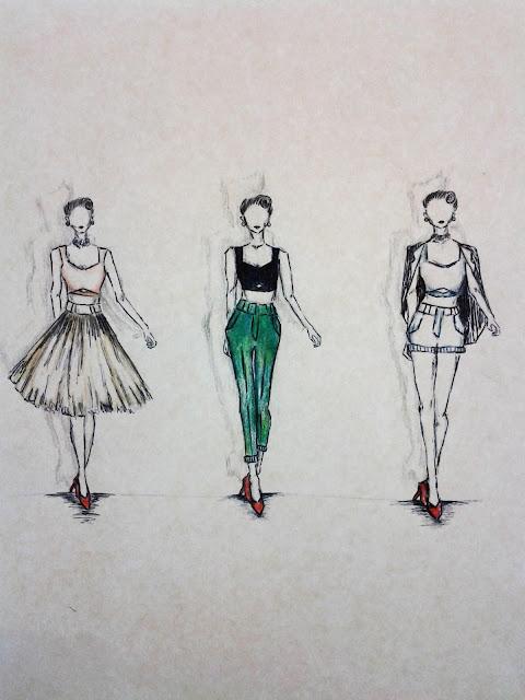 50's crop top sketches